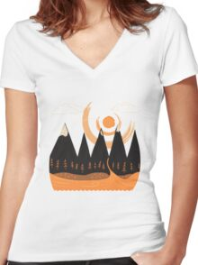 Sunny Mountain Pass Women's Fitted V-Neck T-Shirt