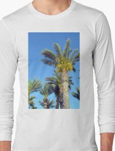 Tall palm trees against the blue sky. Long Sleeve T-Shirt