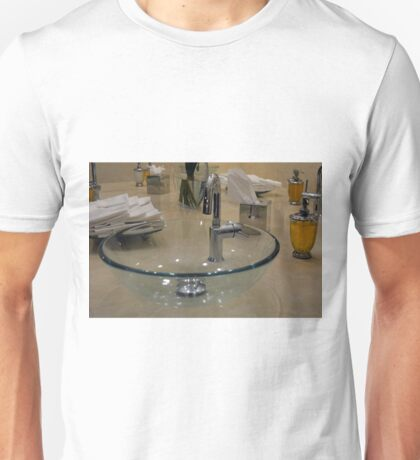 Modern bathroom interior with close up on the transparent sink and tap. Unisex T-Shirt