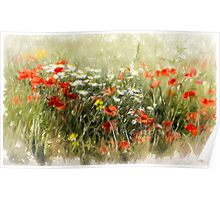 Poppy field, abstract image Poster
