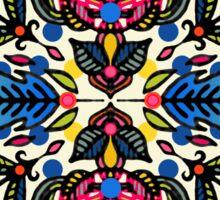 Bright Folk Art Pattern - hot pink, orange, blue & green Sticker