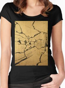 Black & Gold Marble Women's Fitted Scoop T-Shirt