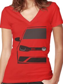VW Polo GTI Half Cut Women's Fitted V-Neck T-Shirt