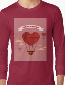 Happy Valentine's Day Greeting Cards. Air Baloon, Present with Love, Cupcake and Whale.  Long Sleeve T-Shirt