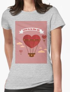 Happy Valentine's Day Greeting Cards. Air Baloon, Present with Love, Cupcake and Whale.  Womens Fitted T-Shirt