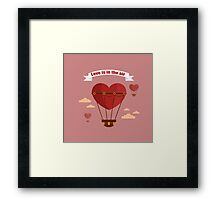 Happy Valentine's Day Greeting Cards. Air Baloon, Present with Love, Cupcake and Whale.  Framed Print