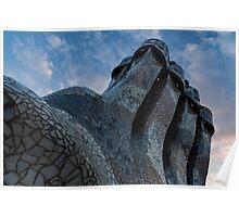 Capricious Trencadis Mosaics – Antoni Gaudi's Quirky Chimneys at Casa Batllo in Barcelona Poster
