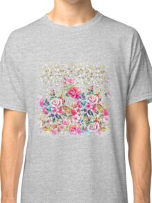 Modern watercolor spring floral and gold dots pattern Classic T-Shirt