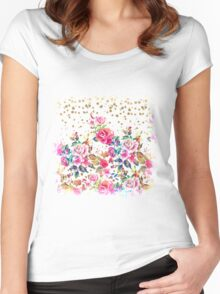 Modern watercolor spring floral and gold dots pattern Women's Fitted Scoop T-Shirt