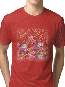 Modern watercolor spring floral and gold dots pattern Tri-blend T-Shirt
