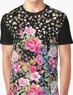 Modern watercolor spring floral and gold dots pattern Graphic T-Shirt