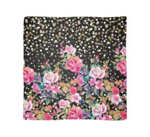 Modern watercolor spring floral and gold dots pattern Scarf