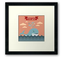 Happy Valentine's Day Greeting Cards. Air Baloon, Present with Love, Cupcake and Whale Framed Print