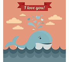 Happy Valentine's Day Greeting Cards. Air Baloon, Present with Love, Cupcake and Whale Photographic Print