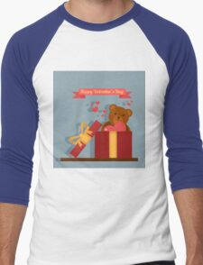 Happy Valentine's Day Greeting Cards. Air Baloon, Present with Love, Cupcake and Whale Men's Baseball ¾ T-Shirt