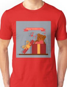 Happy Valentine's Day Greeting Cards. Air Baloon, Present with Love, Cupcake and Whale Unisex T-Shirt