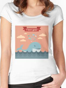 Happy Valentine's Day Greeting Cards. Air Baloon, Present with Love, Cupcake and Whale Women's Fitted Scoop T-Shirt