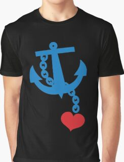 NAVY blue anchor with a love heart Graphic T-Shirt