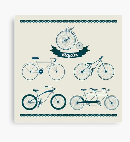 Set of Different Bicycles in Vintage Style.  Canvas Print