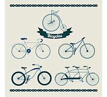 Set of Different Bicycles in Vintage Style.  Photographic Print