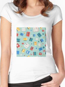 Books Seamless Pattern. Different Colorful Books. Vector illustration in flat style Women's Fitted Scoop T-Shirt