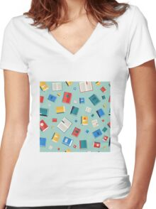 Books Seamless Pattern. Different Colorful Books. Vector illustration in flat style Women's Fitted V-Neck T-Shirt