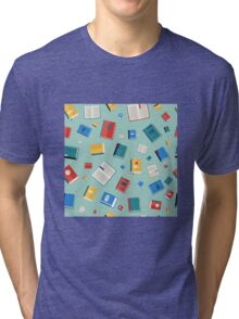 Books Seamless Pattern. Different Colorful Books. Vector illustration in flat style Tri-blend T-Shirt