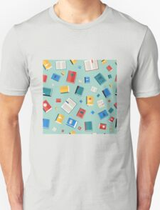 Books Seamless Pattern. Different Colorful Books. Vector illustration in flat style Unisex T-Shirt