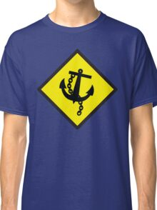 Navy Anchor warning sign yellow Classic T-Shirt