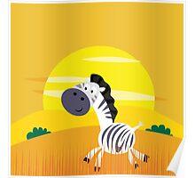Illustration of cute Zebra in Nature Poster