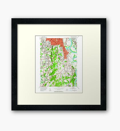 USGS TOPO Map Connecticut CT Hartford South 330611 1952 24000 Framed Print
