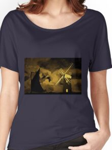 An old style digital painting of Horsey Windmill, Norfolk Broads Women's Relaxed Fit T-Shirt