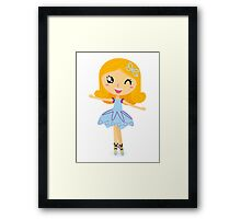 Cute dancing little ballerina girl. Vector cartoon Illustration Framed Print