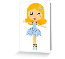 Cute dancing little ballerina girl. Vector cartoon Illustration Greeting Card