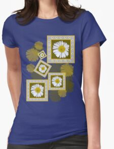 White Daisy on Blue Womens Fitted T-Shirt