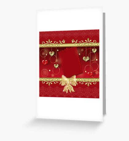 Red frame with hearts and elements on red Greeting Card