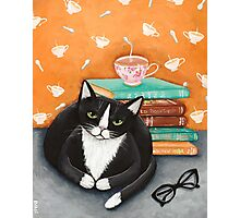 Tea, Books, and Cats Photographic Print