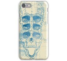 Terrible frightening seamless pattern with skull on antique grunge background iPhone Case/Skin