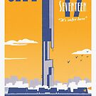 City 17 Travel Poster (orange) by bubblemunki