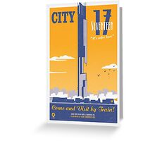 City 17 Travel Poster (orange) Greeting Card