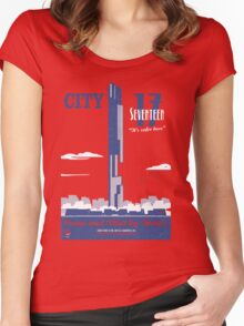 City 17 Travel Poster  Women's Fitted Scoop T-Shirt