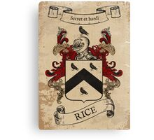 Rice Coat of Arms (Welsh) Canvas Print