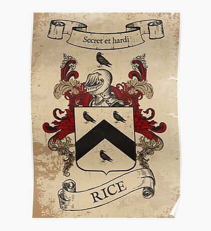 Rice Coat of Arms (Welsh) Poster