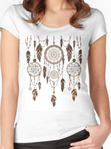 Native American Dreamcatcher Feathers Pattern Women's Fitted Scoop T-Shirt