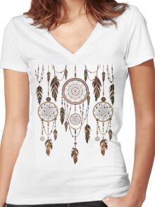 Native American Dreamcatcher Feathers Pattern Women's Fitted V-Neck T-Shirt