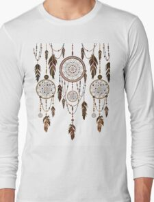 Native American Dreamcatcher Feathers Pattern Long Sleeve T-Shirt