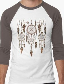Native American Dreamcatcher Feathers Pattern Men's Baseball ¾ T-Shirt