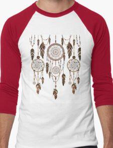 Native American Dreamcatcher Feathers Pattern Men's Baseball ¾ T-Shirt