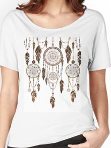 Native American Dreamcatcher Feathers Pattern Women's Relaxed Fit T-Shirt