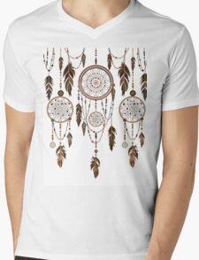 Native American Dreamcatcher Feathers Pattern Mens V-Neck T-Shirt